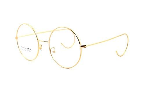 SUMDA 46mm 48mm 50mm 54mm Round Wire Rim Eyeglass Frames (Gold, - Wire Eyeglass Rim Frames