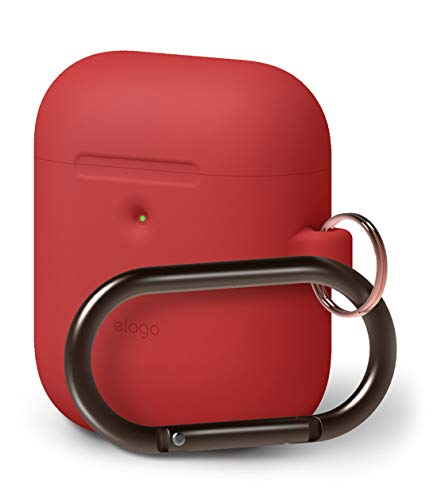 elago A2 Hang Case [Red] - [Front LED Visible][Supports Wireless Charging][Extra Protection][Added Carabiner][2019 Latest Model] - for AirPods 2 Wireless Charging Case