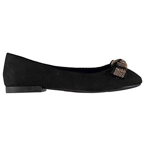 Full Circle Mujer Circle Beaded Bow Ballerina Zapatillas Zapatos Calzado Señoras Negro 6 (39)