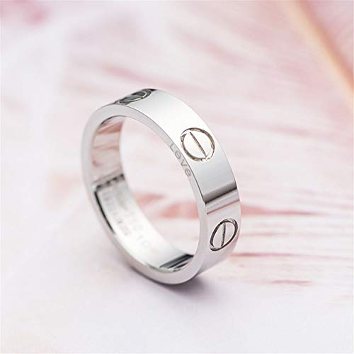 O-HIILILI Silver Love Screw Ring Engagement Wedding Couples Band Titanium Stainless Steel Size 7 by O-HIILILI (Image #2)