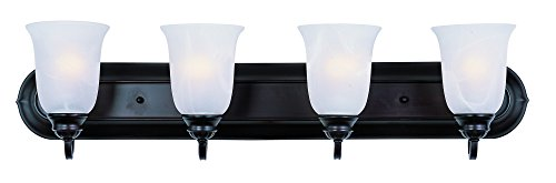 Maxim 7138MROI Essentials 4-Light Bath Vanity, Oil Rubbed Bronze Finish, Marble Glass, MB Incandescent Bulb , 13W Max., Dry Safety Rating, 2700K Color Temp, Glass Shade Material, 2700 Rated ()