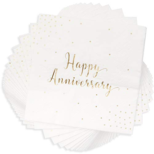 Blue Panda 50Pack Cocktail Napkins  Happy Anniversary Printed in Gold Foil Confetti  Disposable Paper Party Napkins  Perfect for Anniversary Celebrations  5 x 5 inches Folded