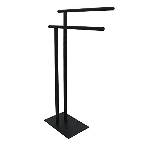 - Kingston Brass SCC6030 Edenscape Double L Shape Pedestal Towel Holder, Matte Black