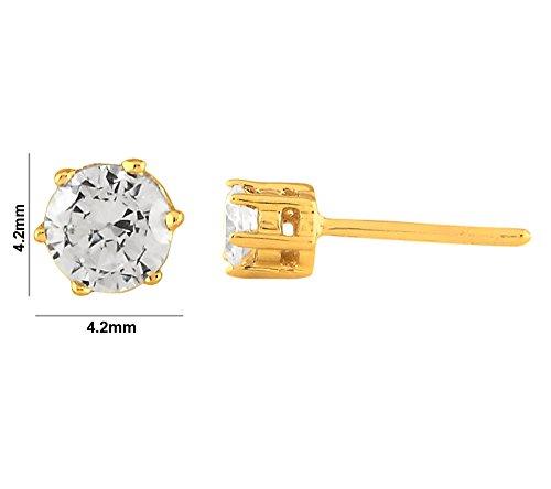 Libertini Boucle d'oreille argent 925 plaque or Jaune serti de Diamant en forme de Rond