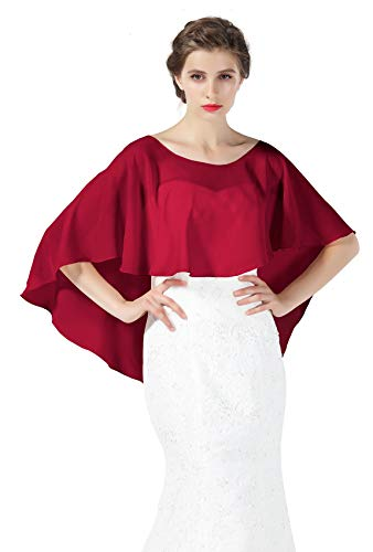Bridal Capelet Chiffon Cape Shawls High-Low Short Tops For Women Wedding Dresses Burgundy