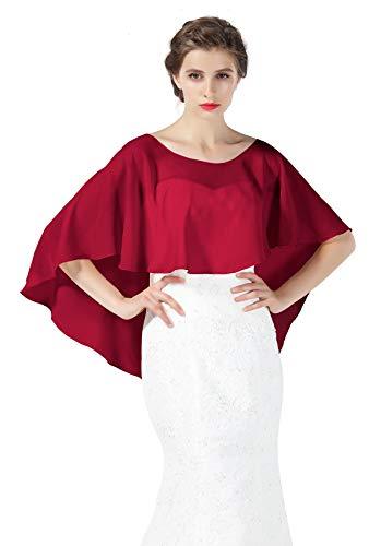 Bridal Capelet Chiffon Cape Shawls High-Low Short Tops For Women Wedding Dresses Burgundy