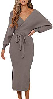 VamJump Women's V Neck Sweater Wrap Dress Batwing Long Sleeve Dress Backless Bodycon Maxi Dress with