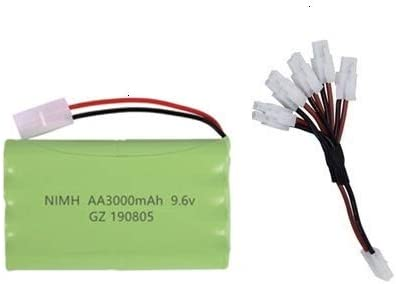 H Model IENPAJNEPQN Color : Red Ni-MH 9.6V 3000mAh Battery USB Caricatore for i Giocattoli di Rc Auto del carro Armato Treno Robot Barca Pistola AA 9.6v Batteria Ricaricabile