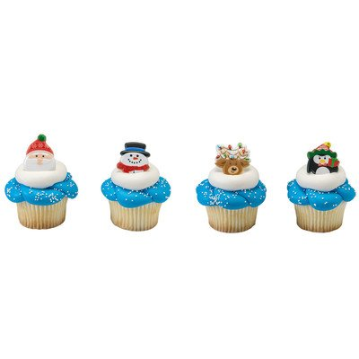 Christmas Holiday Icon Cupcake Rings - 24 pc