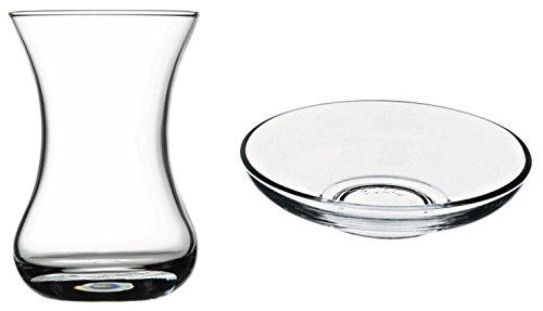 Turkish Tea Glasses & Saucers Set (12 Pc)