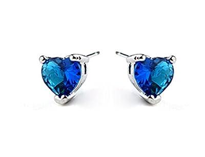 Titanic Heart of the Ocean Blue Cubic Zirconia Stud Earrings Fashion Jewelry for Women
