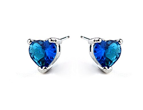 - White Gold Plated Titanic Heart of the Ocean Blue Cubic Zirconia Stud Earrings Fashion Jewelry for Women (Earring)