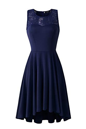(CUQY Womens Lace Cocktail Hight Low Hem Sleeveless Formal Party Navy Dress(CQ0017-Navy-XXL))