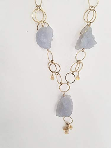 Blue Chalcedony Rough Nuggets Necklace Citrine 14kt Gold filled -