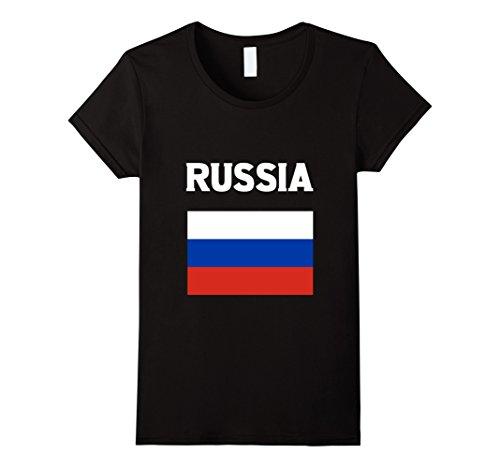 Womens Russia Flag T-Shirt Russian Flag Tee Shirt Small Black Russia Flag T-shirt
