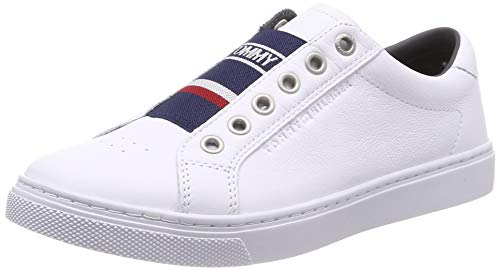 (Tommy Hilfiger Women's Tommy Elastic City Sneaker Trainers, (White 100), 4 3.5 UK)