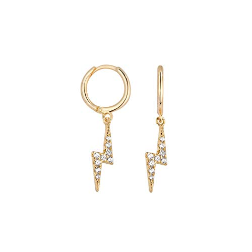 Shashi Women's Lightning Pave Crystal Huggie Earrings, Gold Plated, One Size