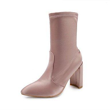 UK6 vestido de con puntiaguda CN40 US8 5 de Zapatos Botas Botines para tacón combate grueso Botas 5 artificial moda RTRY de punta de de invierno mujer Cuero Botas EU39 Champán informal xfqT4Yw