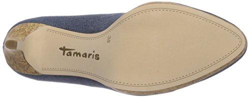 Tamaris 22446 - zapatos de tacón cerrados de lona mujer azul - azul (Denim 802)