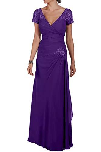Lang Formalkleider Kurzarm Braut Marie Partykleider V Abendkleider Lila Chiffon Fuer Ausschnitt Brautmutter Elegant La c7Fn1Hq1