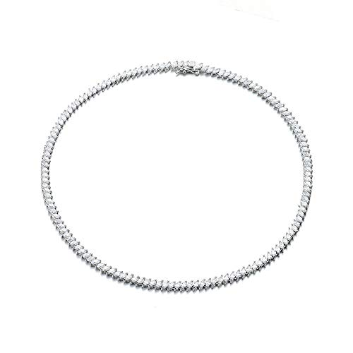 NYC Sterling Womens Magnificent Marquise-Cut Cubic Zirconia Tennis Necklace, Measures 17 inches.