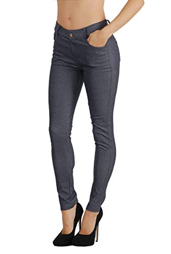 Fit Division Women's Jean Look Cotton Blend Jeggings Tights Slimming Full Lenght Capri and Classic Bermuda Shorts Leggings Pants S-3XL (S US Size 2-4, FDJN827-NVY) -