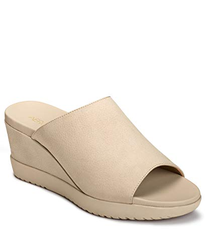 (Aerosoles - Women's Blonde Wedge Sandal - Opened Toed Wedge Shoe with Memory Foam Footbed (7M - Bone Nubuck))