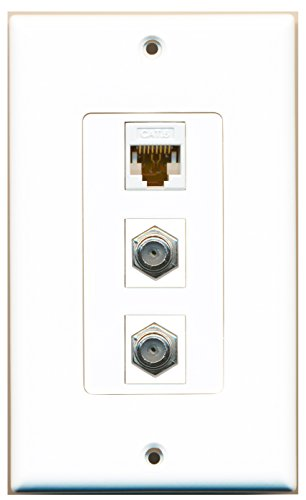 (RiteAV - 2 Port Coax Cable TV- F-Type and 1 Port Cat6 Ethernet White Decorative Wall Plate)