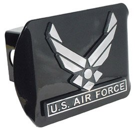 MVP Accessories US Air Force Wings Black Metal Trailer Hitch Cover with Metal Logo by Elektroplate