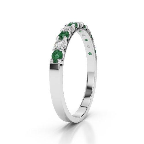 Or blanc 18carats 0,33CT G-H/VS Certifié Coupe ronde Émeraude et diamants Agdr-1123