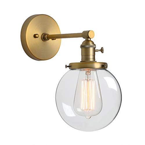 Phansthy Antique Industrial Wall Lamp Globe Wall Light with 5.9 Inches Glass Lampshade(Antique)