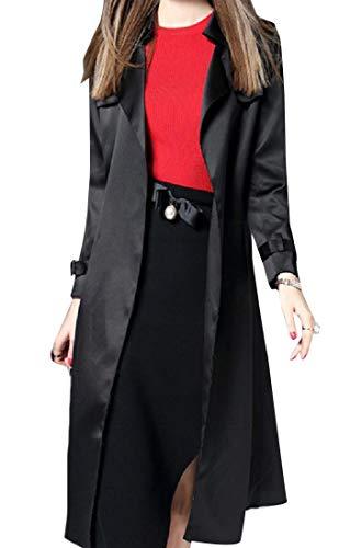 - Abetteric Womens Belted Mulberry Silk Slim Casual Premium Duster Coat Black L