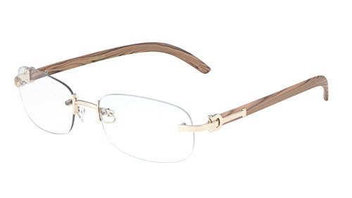 Dean Slim Rimless Metal & Wood Eyeglasses/Clear Lens Sunglasses - Frames (Rose Gold & Light Brown Wood, ()