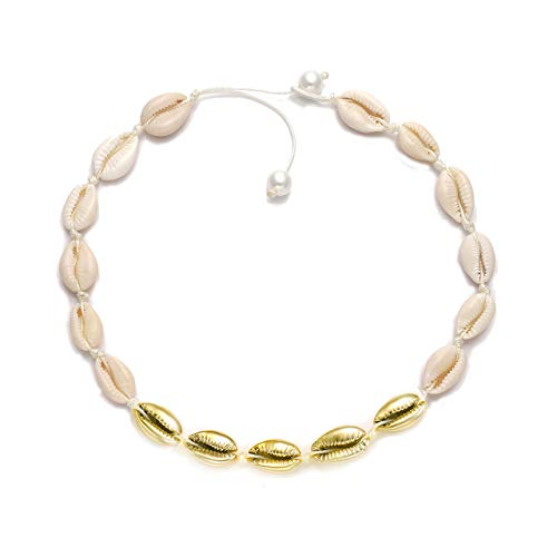 HSWE Gold-Plated Cowrie Shell Choker Necklace Sea Shell Beaded Collar Necklace Adjustable Cowry Charms Cord Rope Hemp Necklace Handmade Boho Beach Summer Jewelry (White#3)