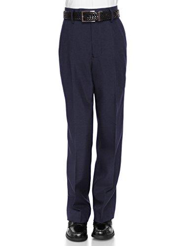 RGM Boys Dress Pants Flat-Front - Slim fit Dress Slacks 100% Dacron Navy 12