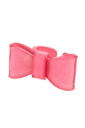 DIVA & DUCHESS PLASTIC BOW RING (Pink)