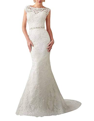 Dress Bridal Gown Mermaid Beads Long Ivory Bridal Amore Back Appliqued V with Lace Wedding BXqwgAx