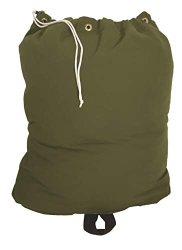 Owen Sewn Heavy Duty 30x40 Canvas Laundry Bag with 6 Brass Grommets and Handle (Olive Green) ()