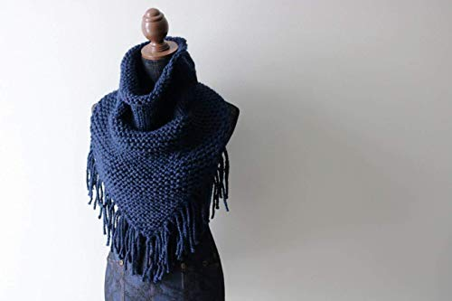 Knitted Knit Triangle Scarf, Triangle Cowl, Bandanna Scarf, Cowl, with Fringe. Handmade in Navy Blue, Chunky Wool Yarn