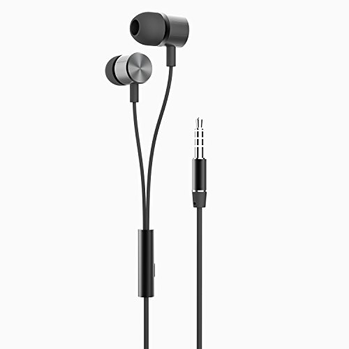 GranVela N2 3.5mm Bass Stereo In-ear Earphone Headphone with Mic Leather Box, for iPhone, Android-Black