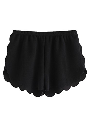 MAKEMECHIC Women's Solid Elastic Waist Scalloped Casual Fitted Shorts Black L ()