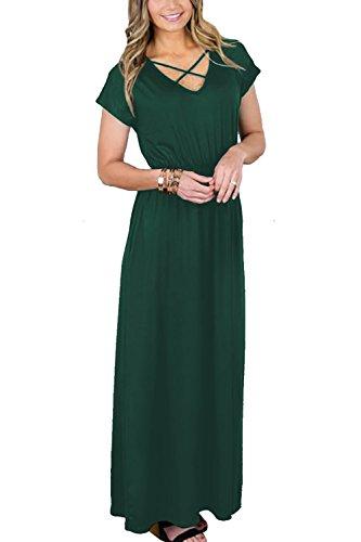 NICIAS Womens Short Sleeve Maxi Dress with Pockets Criss Cross Plain Loose Swing Casual Floor Length Long Dresses