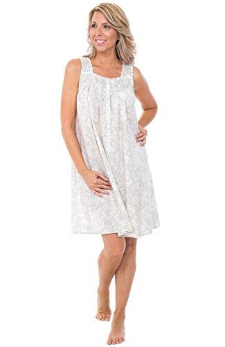 Alexander Del Rossa Womens 100% Cotton Lawn Nightgown, Sleeveless Button Up Sleep Dress, XX-Large Beige Cream Filigree (A0590V852X)
