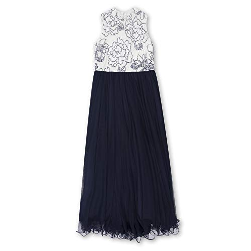 Speechless Girls' Big Full Length Maxi Dress with Beaded Bodice, Ivory Navy 14 -