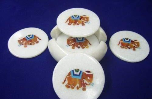 Khusboo Designs Inlaid Elephant 6 Pcs Marble Coaster Set Inlay Gem Stones Pietra Dura Tea/Coffee Coasters -