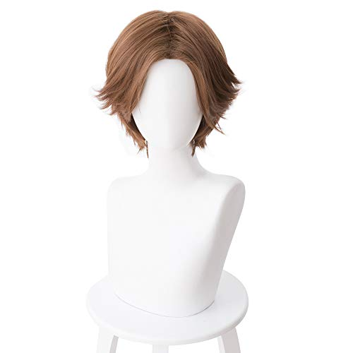 Mooyi Overwatch Jesse McCree Cosplay Wig 30cm Short Curly Heat Resistant Synthetic Hair Centre Parting OW Game Costume Party Wig Brown ()