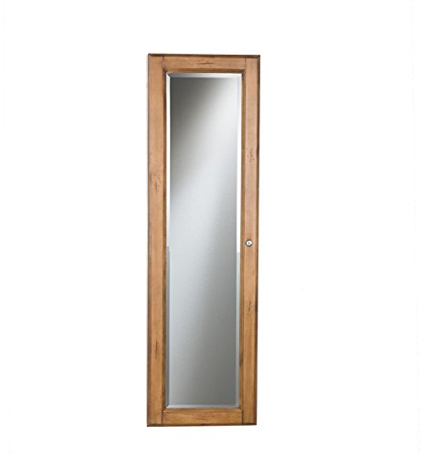 Oak Jewelry Armoire Storage Wall Mount Full Length Mirror Locking Distressed Finish Bedroom Decor by Lana45 (Image #3)