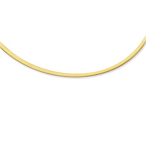 14K White and Yellow Gold Solid Reversible Omega 4mm Chain 8