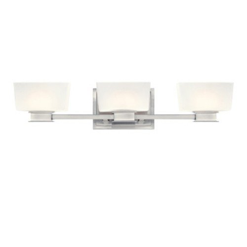 Designers Fountain 6683-SP Geneva Three Light Bath Bar, Satin Platinum Finish with Frosted White (Satin Platinum Finish)