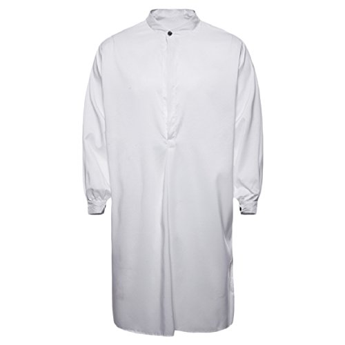 Abetteric Men's Pure Colour Cotton Islamic Muslim Dress Arab Middle Eastern White XL